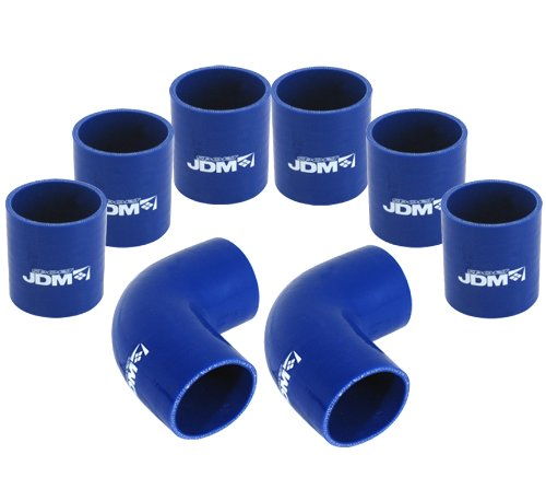 Universal 8 Piece 3 DIY Aluminum FMIC Intercooler Piping Polished U-Pipe Kit with Blue Couplers