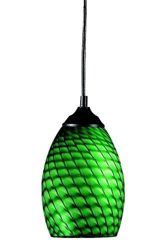 Z-Lite 131-GREEN Jazz One Light Mini Pendant, Metal Frame, Sand Black Finish and Green Shade of Glass Material - Jazz 1 Light Pendant