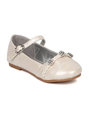Childrens Ivory Flower Girl Shoes - Alrisco Girls Round Toe Rhinestone Flower