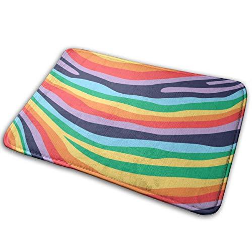 """Zebra Rainbow Doormat 1 cm Thick Entrance Mat Floor Mat Area Rug Flannel Touch and Slip-Resistant Backing for Indoor/Front Door/Bathroom/Kitchen/Living Room and Bedroom Non-Slip Mats 15.7"""" X 23.6"""""""