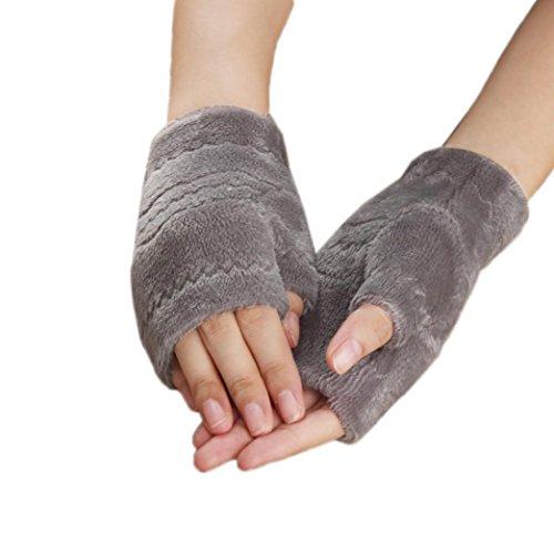 Winhurn Winter Autumn Stylish Thick Warm Keyboard Fingerless Mttens Gloves (Grey) - Prime Training Gloves 16 Oz Grey