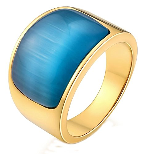 Aokarry Stainless Steel Ring for Men Boy Father Created-Opal Birthstone Smooth Blue Size 8