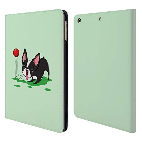 Official Grace Illustration Boston Terrier Dogs Leather Book Wallet Case Cover for iPad Air (2013)