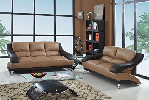 Blackjack Furniture 982-TWO-TONE-2PC The Anderson Collection 2-Piece Leather Living Room Sofa Set, - Two Set Sofa Tone