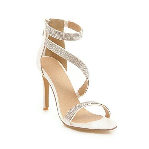 Sandalias Zapatos Sandalias Sandalias Moda Sexy Alto Hollow de Botones white Diamante de Tacon Sandalias Damas f8CIwqxEI