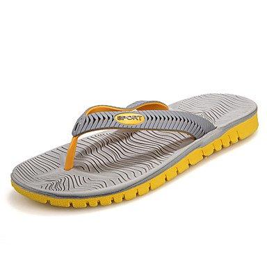 Sandalias de verano zapatos de hombre / Exterior / vestimenta casual zapatillas sintéticas Flip-Flops / negro / azul / gris Blue