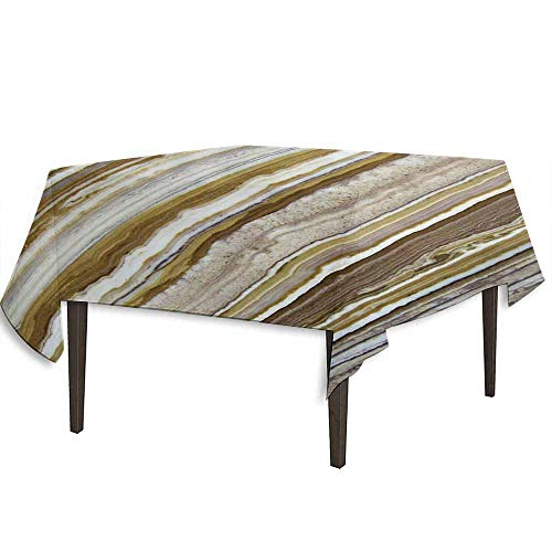 DouglasHill Marble Waterproof Anti-Wrinkle no Pollution Onyx Marble Rock Themed Vertical Lines and Blurry Stripes in Earth Color Print Outdoor Picnic W54.3 x L54.3 Inch Mustard Brown