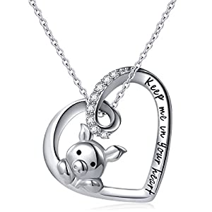 "925 Sterling Silver Engraved""Keep Me in Your Heart"" Cute Pig Pendant Necklace for Women Girls Gift, 18″"