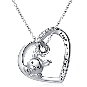 "925 Sterling Silver Engraved ""Keep Me in Your Heart "" Cute Pig Pendant Necklace for Women,18"""