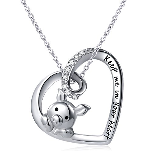 925 Sterling Silver Engraved Keep Me in Your Heart  Cute Pig Pendant Necklace for Women,18