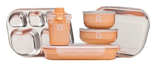 Kangovou Kids 9 Piece Dishware Set (Peaches and Cream)