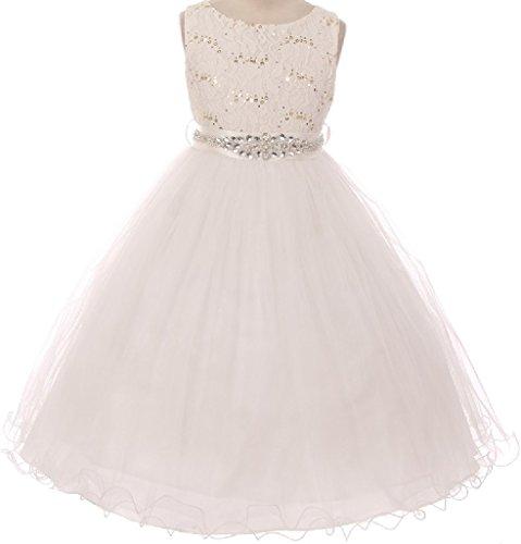 Big Girls' Dress Sparkly Sequins Dress Detachable Rhinestone Crystal Sash Flower Girl Dress Ivory 10 (Sparkly Fancy Dress)