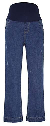 Trouser Maternity Jeans (Foucome Maternity Work Jeans Fit Belly Bi-stretch Suiting Straight Trousers with Adjustable Elastic Belt Blue S/Label L)