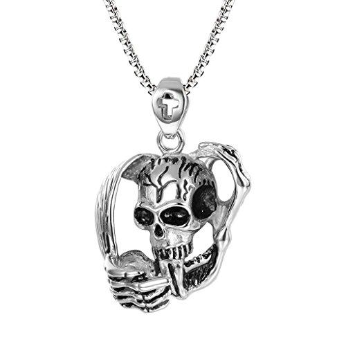 Silver Tone Gothic Metal Skull Charm Pendant - 4
