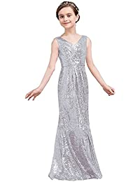 Golds Sequins V-Neck Pageant Dress Long Flower Girl Bridesmaid Prom Dress 77