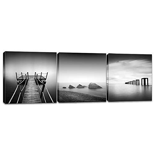 (Innopics 3 Piece Black and White Beach Pier Seascape Canvas Print Stone Wooden Jetty Picture Horizon Landscape Painting Wall Art Decor Framed for Home Office Bedroom Decoration Each Size 12