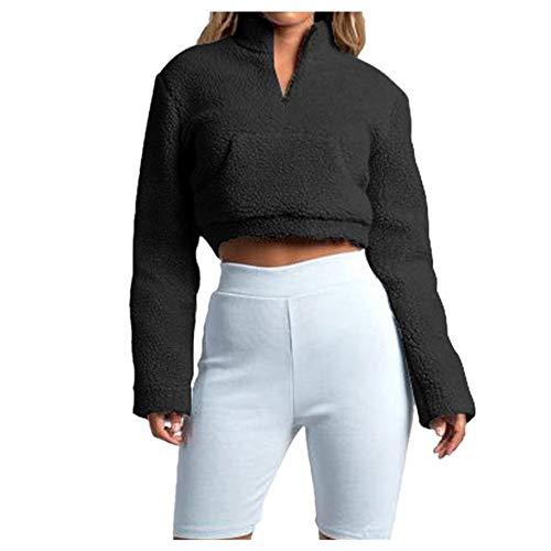 E-Scenery Women's Crop Sweatshirt Winter Warm Fluffy Zipper Long Sleeve Pullover Tops with Pocket (Black, ()