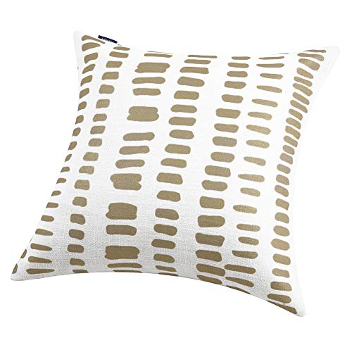 Aitliving 20X20 Metallic Gold Foil Print Throw Pillow Shell Off-White Linen Blend AmaZulu Geometric Pillow Cover Cushion Shell Accent Pillow Case 50X50cm