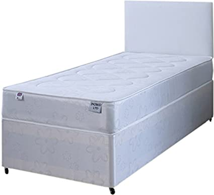 detailed look 8b5ee c65eb Single White Deep Quilt 3ft Divan Bed Includes Base, Mattress, Headboard  And Slider Storage