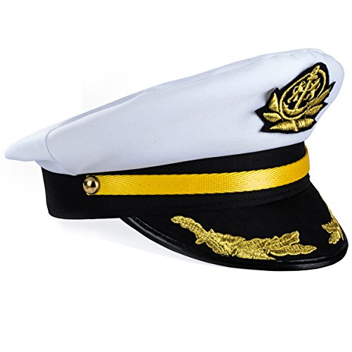 Yacht Captain Hat – Sailor Cap , Skipper Hat , Navy Marine Hat - Costume Accessories by Funny Party Hats (Sea Captain Hat Adult)