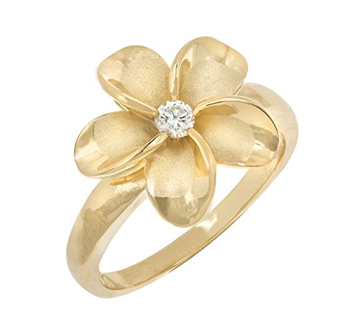 - Honolulu Jewelry Company Sterling Silver Flower CZ Ring with 14K Yellow Gold Finish(8)