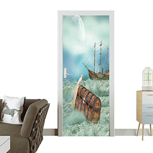 Homesonne 3D Photo Door Murals Trunk Ocean Wav Bird Pirate Boat Picture M t Green Light Caramel Easy to Clean and applyW38.5 x H79 INCH