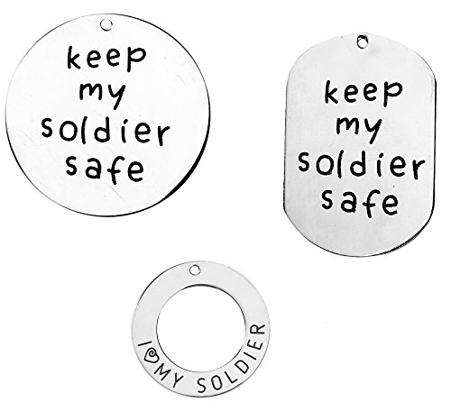 [Soldier Charm Pendants 3 Pk, Stainless Steel - Military Mom Wife Daughter, Support Our Troops] (Pictures National Costumes Different Countries)