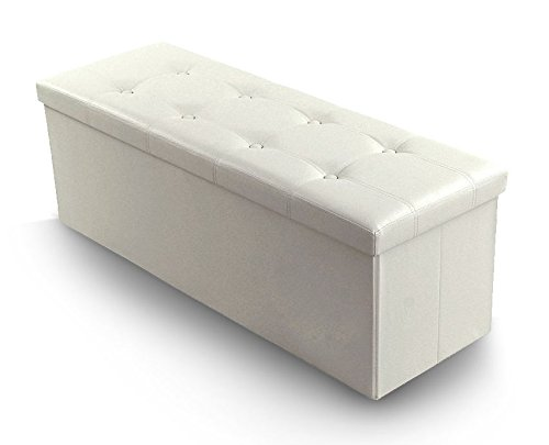 Faux Leather Folding Storage Ottoman, Foot Rest Stool, Thickening Sponge for Livingroom 43 1/4