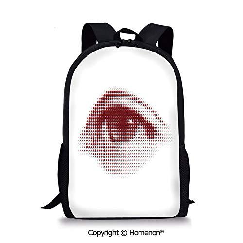 (Burdy White,design Boys Girls School Bag Rucksack Durable Bookbag Teens(17.3