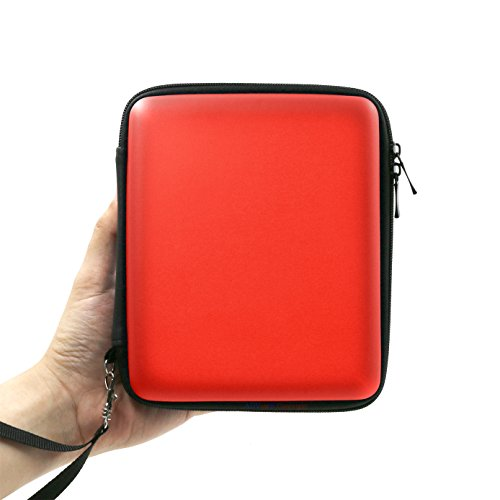 ADVcer 2DS Case, EVA Waterproof Hard Shield Protective Carrying Case with Hand Wrist Strap and Double Zipper for Nintendo 2DS (Reddish - Orange Ds Case Nintendo