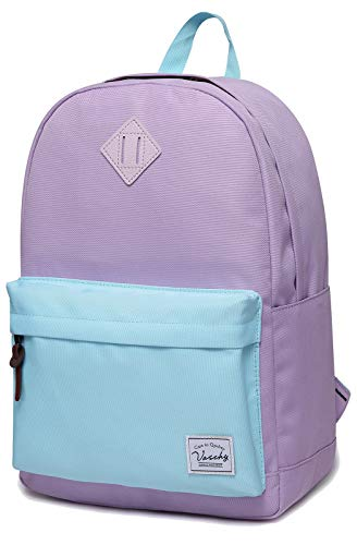 Backpack for Teen Girls, Vaschy Classic Water Resistant School College Bookbag Casual Daypack Travel Rucksack with Bottle Pockets Fits 15Inch Laptop (Purple Sky Blue)]()