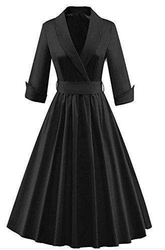 YOGLY Damen Kleider 3/4 Arm Ballkleid Rockabilly Cocktailkleid ...