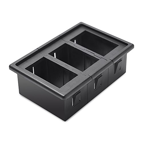 MICTUNING 3PCS Rocker Switch Holder Panel Housing Kit Fireproof ABS Plastic Black (Panel Truck Rocker)