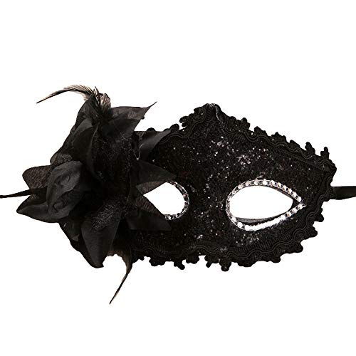 Masquerade Masks with Rhinestones, Women Girl Lace Eye Mask, Costume Cosplay Mask for Mardi Gras, Halloween Costume Party, New Year's Party ( Black)]()