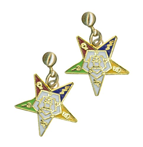 Mason Zone OES Dangling Earrings with Order of The Eastern Star Symbolism - One Pair. Great O.E.S Gift. (OES Earrings)