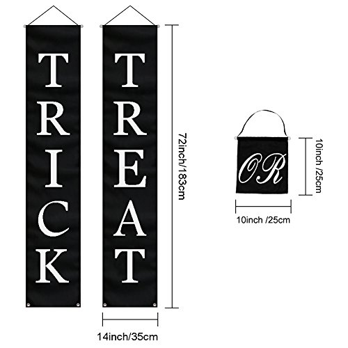 PartyTalk 3pcs Trick or Treat Halloween Banner Outdoor, Halloween Hanging Sign for Home Office Porch Front Door Halloween Decorations by PartyTalk (Image #2)