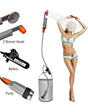 [Upgraded] Portable Camping Shower, Compact Shower Pump with Detachable USB Rechargeable Batteries, Handheld Outdoor Camp Shower Head for Camping, Hiking, Traveling Use (Classic)