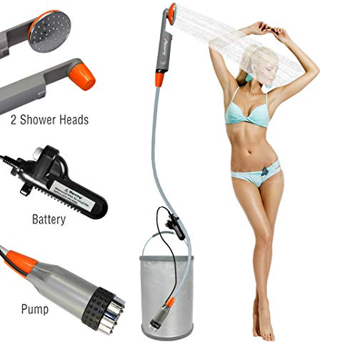 LUOOV Portable Camping Shower, Shower Pump with Detachable USB Rechargeable Battery, Handheld Outdoor Shower Head for Camping,Hiking,Traveling Use Portable Shower (Upgraded Separate Battery) ()