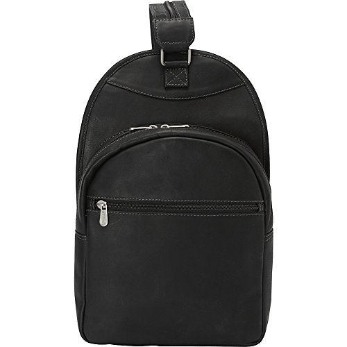 Piel Leather Slim Adventurer Sling Bag Backpack, Black, One Size