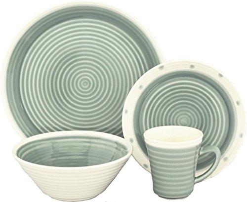 Sango 3595AQ800ACM19 Rico 16-Piece Stoneware Dinnerware Set, Aqua