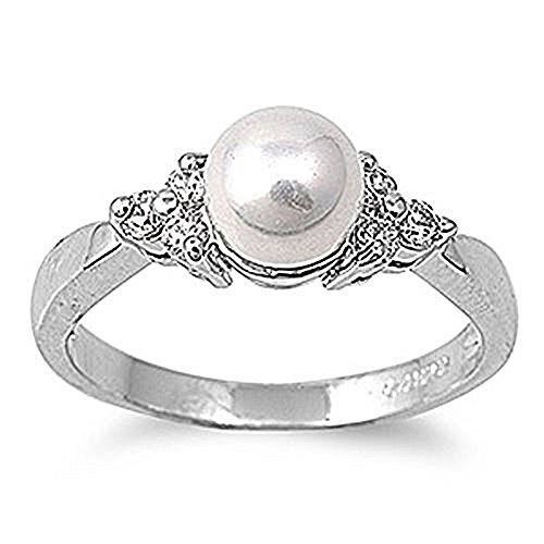 Mevoi Faux Pearl and Crystal Enhanced Ring - Size 7