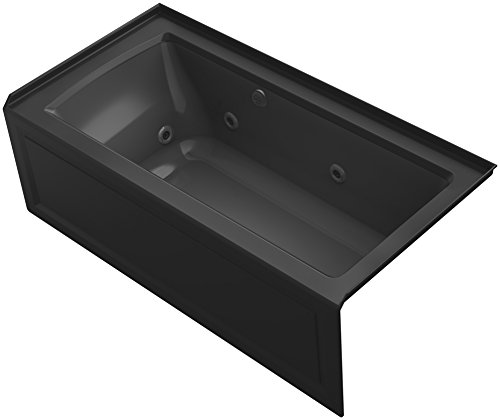 "KOHLER K-1947-RAW-7 Archer 60"" x 30"" Alcove Whirlpool Bath with Bask Heated Surface, Integral Apron, Tile Flange and Right-Hand Drain, Black"