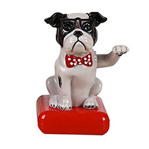 Hankyky Bobble Head Dog Ornament Figurine Solar Powered Nodding Puppy Dog Home Car Decor Bobbing Shaking Head Dog Figure