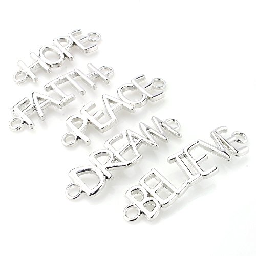 BEADNOVA 5pcs Silver Plated Hope Faith Peace Dream Believe Sideway Word Letter Bracelet Necklace Charm Connector Pendant Assorted Mix Lot For Jewelry Making