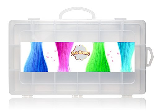 Figures Case Organizer Box| Fits Up to 144 Mini Toy 1 inch Figurines, 17 Miniature Characters Or up to 24 Tiny Bags & Baskets| Large Compartments| Beautiful Carrying Case Bin With Handle by Ash Brand