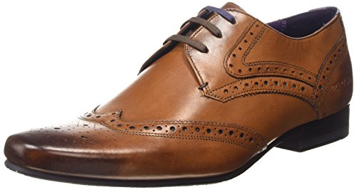 Ted Baker Men's Hann 2 Leather Lace up Formal Shoe Tan-Tan-10