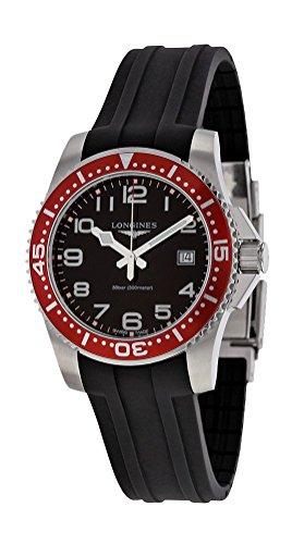 Longines Hydroconquest Quartz Stainless Steel Mens Strap Watch Red Bezel -