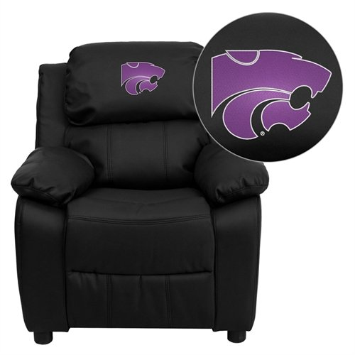 (Flash Furniture Kansas State University Wildcats Embroidered Black Leather Kids Recliner with Storage Arms )