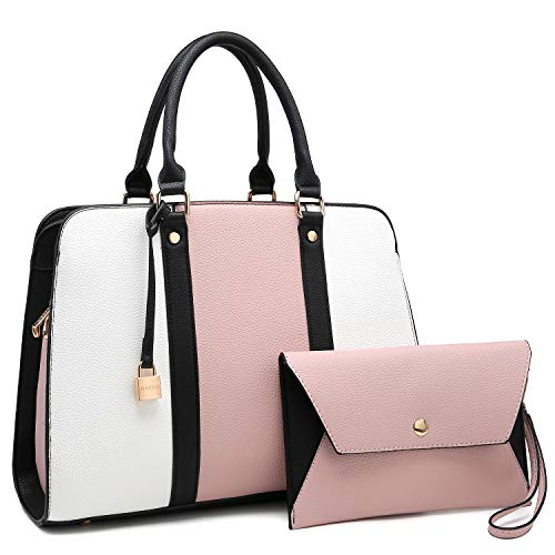 Women Leather Handbag Satchel Shoulder Bag 2 Pieces Set Multi Pockets Compartments Purse, Pink and White