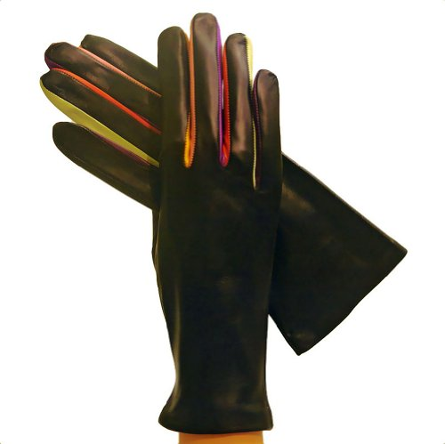 "Women's Italian Leather Gloves Lined in Silk. ""Arlecchino"" By Solo Classe."